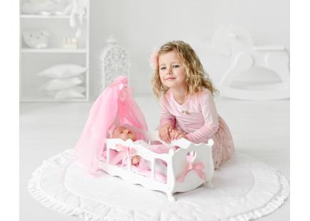 Деревянная Кроватка для кукол (колыбелька)